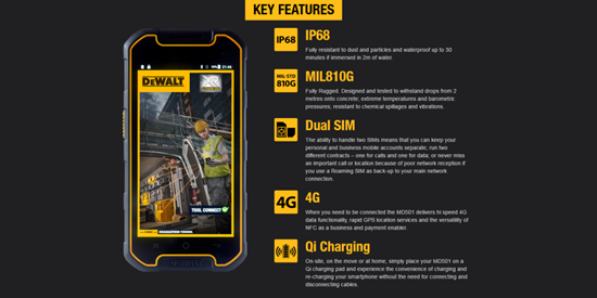 dewalt phone spec